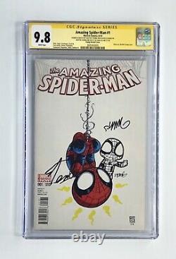 AMAZING SPIDER-MAN #1 Signed x2 Stan Lee With Skottie Young Sketch CGC 9.8