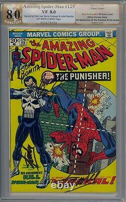 AMAZING SPIDER-MAN 129 PGX / CGC 8.0 SIGNED 4x TWICE BY STAN LEE + ROMITA/CONWAY