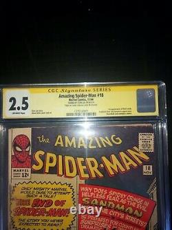 AMAZING SPIDER-MAN #18 CGC 2.5 Signed STAN LEE SS 1ST APP OF SANDMAN 1964