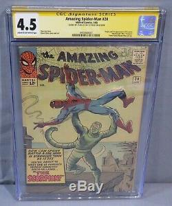 AMAZING SPIDER-MAN #20 (Scorpion 1st app, Stan Lee Signed) CGC 4.5 Marvel 1965