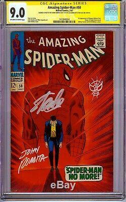 AMAZING SPIDER-MAN #50 CGC 9.0 1967 SS Signed X2 Stan Lee, John Romita +Sketch