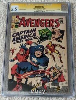 AVENGERS 1966 #4 Marvel COMICS CGC 5.5 CAPTAIN AMERICA SIGNED BY STAN LEE MARVEL