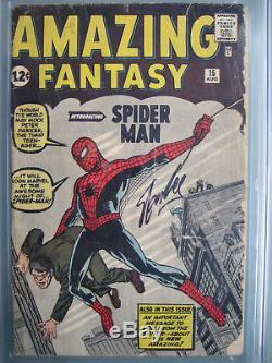 Amazing Fantasy #15 CGC 1.8 SS Signed Stan Lee Origin & 1st Spider-Man