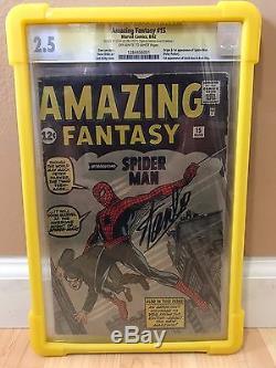 Amazing Fantasy 15 Cgc 2.5 Signed Stan Lee 1st App Spider-man Rare Grail Key #15