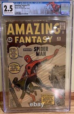 Amazing Fantasy #15 Cgc 2.5 Signed Stan Lee Af15 1st Appearance Spider-man New