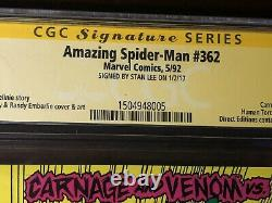 Amazing Spider-Man #362 (1992) 2nd Carnage Signed Stan Lee-CGC 9.8! Newsstand