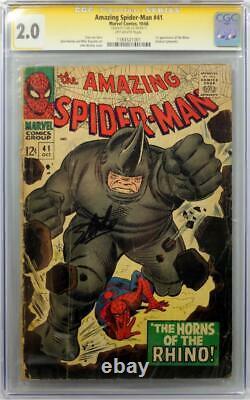 Amazing Spider-Man #41 CGC 2.0 SS Signed STAN LEE 1st App of RHINO