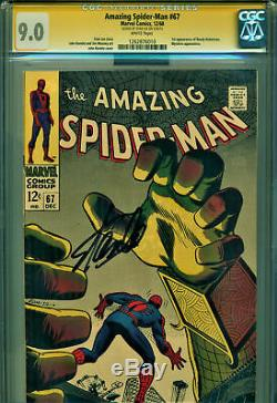 Amazing Spider-Man #67 CGC 9.0 SS Signed Stan Lee