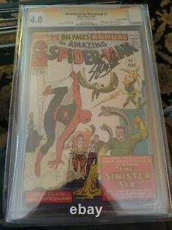 Amazing Spider-Man Annual 1 CGC 4.0 signed by Stan Lee