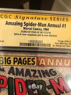 Amazing Spider-Man Annual #1 Signed Stan Lee CGC 1st Appearance of Sinister Six