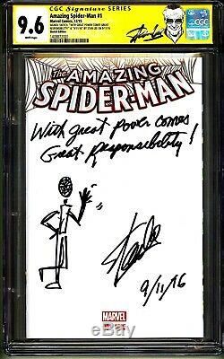 Amazing Spider-man #1 Cgc Ss 9.6 Stan Lee Signed Sketch Date Quote Comment 1/1