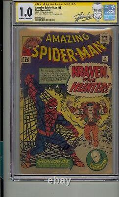 Amazing Spider-man #15 Cgc 1.0 Ss Signed Stan Lee 1st App Kraven The Hunter