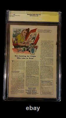 Amazing Spider-man #15 Cgc 4.5 Ss Signed Stan Lee 1st Kraven The Hunter