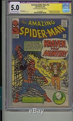 Amazing Spider-man #15 Cgc 5.0 Ss Signed Stan Lee 1st App Kraven The Hunter