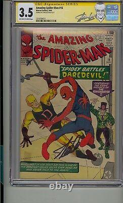 Amazing Spider-man #16 Cgc 3.5 Ss Signed Stan Lee Silver Age Daredevil X-over