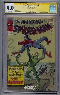Amazing Spider-man #20 Ss Cgc 4.0 Origin/1st Scorpion Signed By Stan Lee