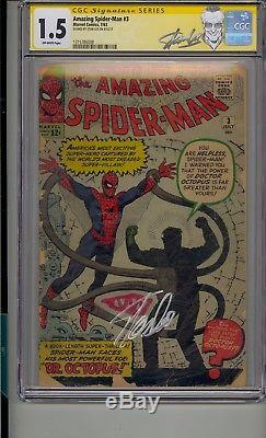 Amazing Spider-man #3 Cgc 1.5 Ss Signed Stan Lee Origin 1st App Doctor Octopus