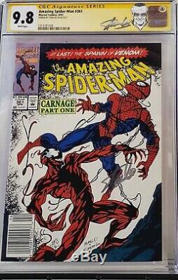 Amazing Spider-man #361 Cgc 9.8 Ss Signed Stan Lee 1st Carnage 028 Newsstand