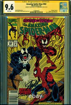 Amazing Spider-man #362 Cgc 9.6 2x Signed By Stan Lee & M Bagley! All Newsstand