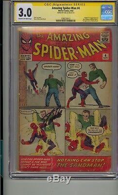Amazing Spider-man #4 Cgc 3.0 Ss Signed Stan Lee 1st Sandman Appearance