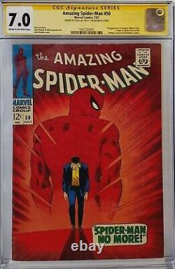 Amazing Spider-man #50 Cgc 7.0 Ss Signed Stan Lee On Back Cover 1st Kingpin
