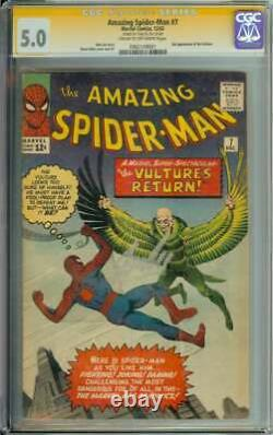 Amazing Spider-man #7 Cgc 5.0 Cr/ow Pages // Signed By Stan Lee