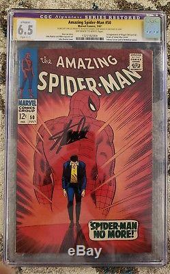 Amazing SpiderMan #50 (CGC 6.5) 1967 1st App of The Kingpin Signed STAN LEE
