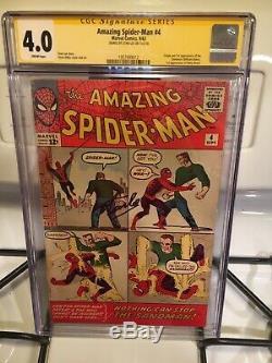 Amazing Spiderman #4 CGC 4.0 SS Signed By Stan Lee 1st Sandman