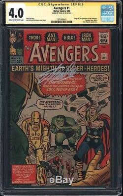 Avengers 1 CGC 4.0 1st app of Avengers! Signed Stan Lee! WORLDWIDE SHIP 1964