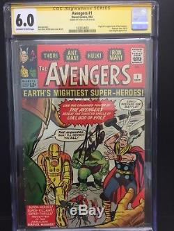 Avengers 1 CGC 6.0 SS Stan Lee Signed 1st Appear OwithW Pages Hulk Thor Iron Man
