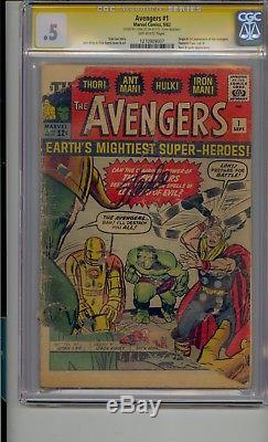 Avengers #1 Cgc. 5 Ss Signed Stan Lee 1st App Of The Avengers