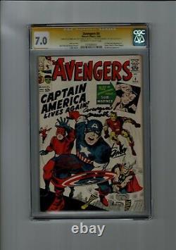Avengers #4 CGC 7.0 Marvel Comics Signed Stan lee+1 signed Avengers Assemble
