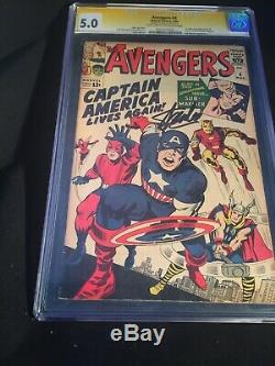 Avengers #4 Cgc 5.0 Ss Signed Stan Lee 1st Silver Age Captain America