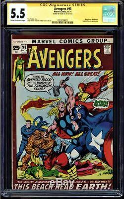 Avengers #93 Cgc 5.5 Stan Lee Ss Signed Crimson Cowl Is Ultron 5 Cgc #0351038003