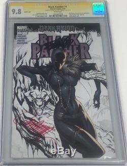 Black Panther #1 Rare B&W Sketch Signed Stan Lee & J. Scott Campbell CGC 9.8 SS