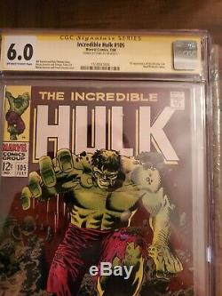 CGC SS 6.0The Incredible Hulk #105 SIGNED BY Stan Lee