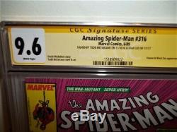 Cgc 9.6 Ss (nm+) Amazing Spider-man #316 2x Signed Todd Mcfarlane Stan Lee