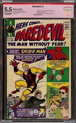 Daredevil #1. CBCS 5.5 Fine. Verified Signature Series. Signed by Stan Lee
