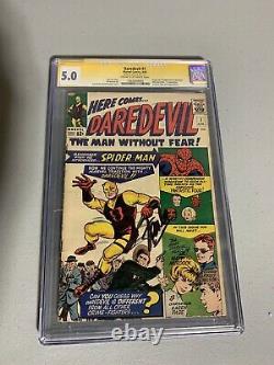 Daredevil #1 CGC 5.0 SS 1964 1st app. Signed Stan Lee Spider-Man Fantastic Four