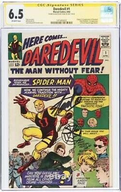 Daredevil #1 Sketched Spidey & Signed Stan Lee Cgc 6.5 Fn+ Off White Rare 1 Of 1