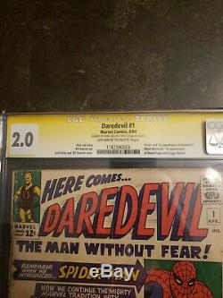 Daredevil 1 cgc 2.0 signed by Stan Lee 1st appearance of daredevil
