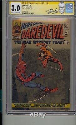 Daredevil #16 Cgc 3.0 Ss Signed Stan Lee 1st Romita Spider-man Art