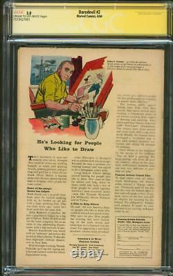 Daredevil 2 CGC SS 3.0 Stan Lee Sign 2nd Electro Jack Kirby cover 1964