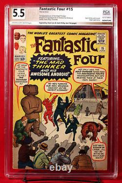 FANTASTIC FOUR #15 PGX 5.5 FN- Fine- signed by STAN LEE and JACK KIRBY HTF +CGC