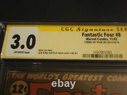 FANTASTIC FOUR #8 CGC 3.0 SS SIGNED STAN LEE. OW. 1962. Only 30 copies are SS