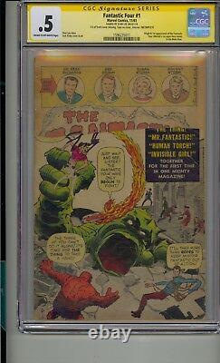 Fantastic Four #1 Cgc. 5 Ss Signed Stan Lee Spider-man