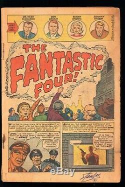 Fantastic Four 1 LOW GRADE READER! 1ST APP MOLEMAN! SIGNED STAN LEE 91