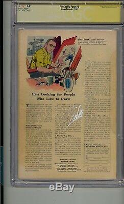 Fantastic Four #4 Cgc 5.0 Ss Signed Stan Lee On Back Sa Sub-mariner White Pages