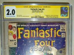 Fantastic Four #45 CGC 2.0 SS Signed STAN LEE 1st Appearance Inhumans