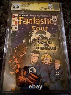 Fantastic Four #45 Cgc Ss 5.5 Signed By Stan Lee Key 1st Inhumans & Lockjaw